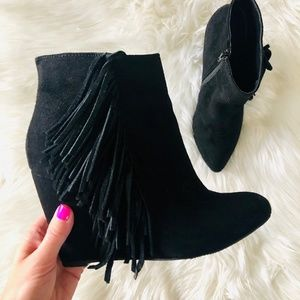 "Madden Girl | ""PAVE"" Black Fringe Wedge Bootie"